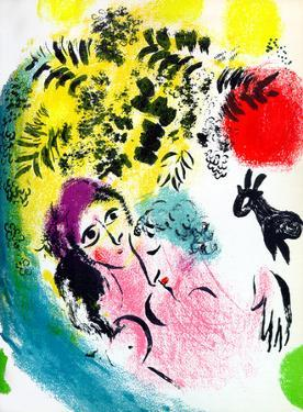 Lovers with Red Sun by Marc Chagall
