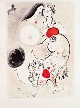 Pair of Lovers with Rooster by Marc Chagall