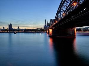 Cologne Cathedral, Dusk, Sundown, Great Saint Martin Church by Marc Gilsdorf