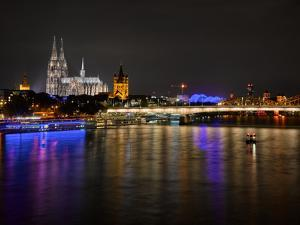 Cologne Cathedral, Great Saint Martin Church, the Rhine, in the Evening, Dusk by Marc Gilsdorf