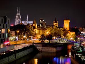 Cologne Cathedral, Rheinuferstrasse, Illuminated, in the Evening by Marc Gilsdorf