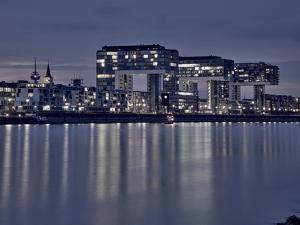 Cologne, Crane Houses on the Rhine, Dusk, Illuminated by Marc Gilsdorf