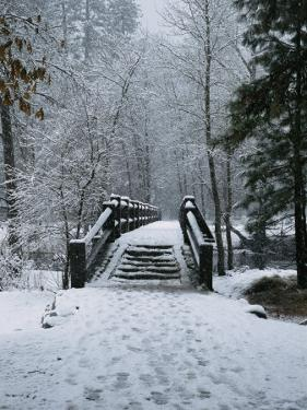 A Snow-Covered Footbridge over the Merced River by Marc Moritsch