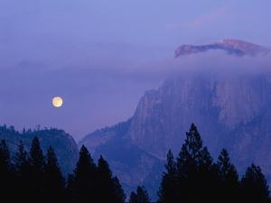 The Moon Rises over Half Dome in Yosemite National Park by Marc Moritsch