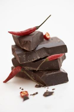 Pieces of Chocolate with Red Chillies by Marc O. Finley