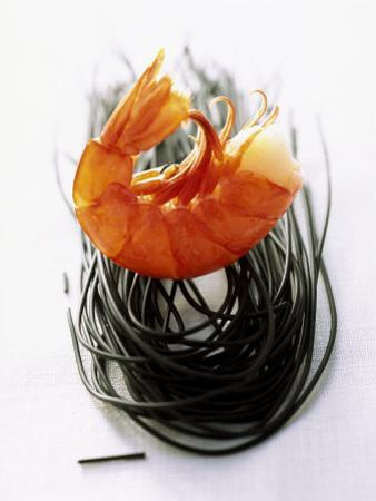 Shrimps with Black Pasta by Marc O. Finley