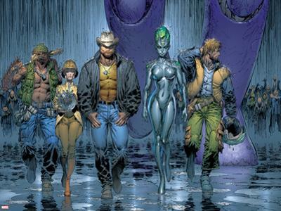 New X-Men No.152 Group: Wolverine, Beak, Nova, Cassandra and E.V.A. by Marc Silvestri