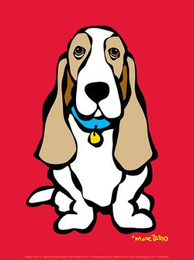 Basset Hound on Red by Marc Tetro