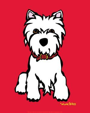 Westie on Red by Marc Tetro