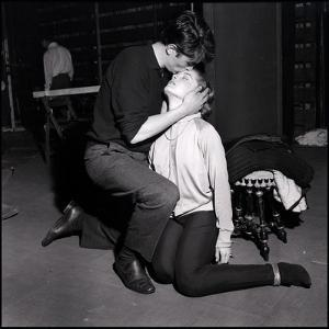 Alain Delon and Romy Schneider Kissing by Marcel Begoin