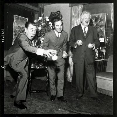 Charles Aznavour, Fernandel and Michel Simon at the Orange and Citron Price, 28 October 1969 by Marcel Begoin
