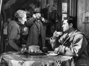 Robert Hirsch, Jean Gabin and Gabrielle Fontan: Maigret et L'Affaire Saint Fiacre, 1959 by Marcel Dole