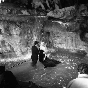 Marcello Mastroianni and Anita Ekberg, La Dolce Vita, Federico Fellini, 1960 (b/w photo)