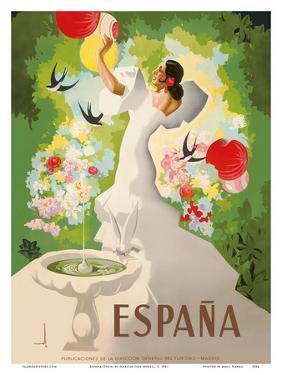 Espana (Spain) - Dancer with Fountain and Birds by Marcias Jose Morell
