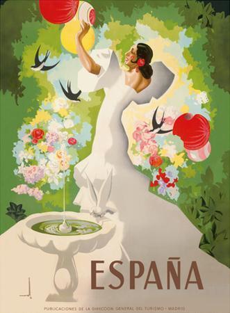 Espana (Spain) - Dancer with Fountain and Birds