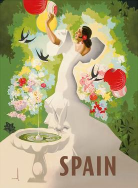 Spain - Spanish Dancer with Fountain and Birds by Marcias José Morell