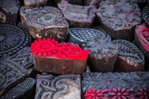 Display of Printing Stamps at a Market Stall in Kathmandu by Marcin Dobas