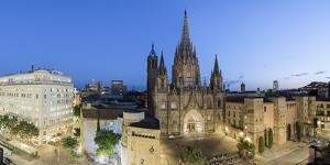 Barcelona, Catalonia, Spain, Southern Europe. High angle view of the old Cathedral of the Holy Cros by Marco Bottigelli