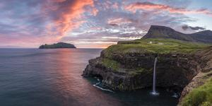 Gasadalur, Vagar island, Faroe Islands, Denmark. Panocamir view of Mykines and the iconic waterfall by Marco Bottigelli
