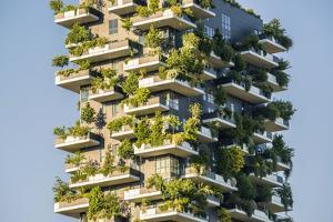 Milan, Lombardy, Italy. Details of the Bosco Verticale building. by Marco Bottigelli
