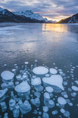 Silvaplana, Engadine valley, Switzerland. Frozen bubbles in the Lake Silvaplana (Silvaplanersee) on by Marco Bottigelli