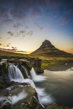 Snaefellsness Peninsula, Iceland. Midnight Sun at the Kirkjufell Mountain. by Marco Bottigelli