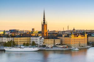 Stockholm, Sweden, Northern Europe. High angle view over Riddarholmen and Riddarholmskyrkan (church by Marco Bottigelli