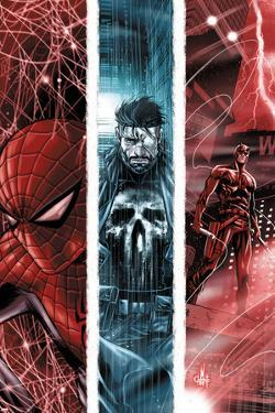 The Punisher No.10 Cover: Spider-Man, Punsiher, and Daredevil by Marco Checchetto