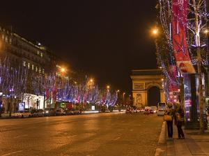 Champs Elysees at Christmas Time, Paris, France, Europe by Marco Cristofori
