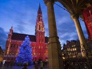 City Hall, Grand Place, UNESCO World Heritage Site, at Christmas Time, Brussels, Belgium, Europe by Marco Cristofori