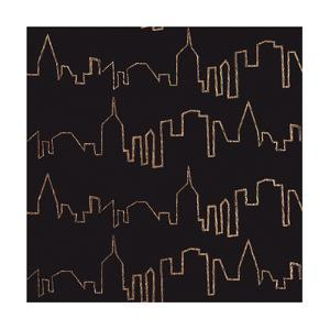 NY Chic Skyline gold on black by Marco Fabiano