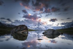 The Matterhorn Is Reflected in the Stellisee at Sundown, Switzerland, Valais by Marco Isler