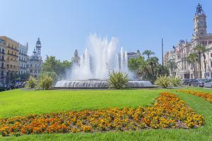 Ayuntamiento Square and townhall, Valencia, Comunidad Autonoma de Valencia, Spain by Marco Simoni