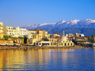 Chania Waterfront and Mountains in Background, Chania, Crete, Greece, Europe