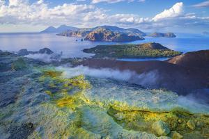 Europe, Italy, Sicily, Aeolian Islands, Vulcano Island, High angle view of , Aeolian Islands from V by Marco Simoni