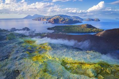 Europe, Italy, Sicily, Aeolian Islands, Vulcano Island, High angle view of , Aeolian Islands from V