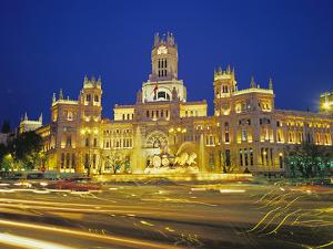 Plaza De Cibeles Illuminated at Night, Madrid, Spain, Europe by Marco Simoni
