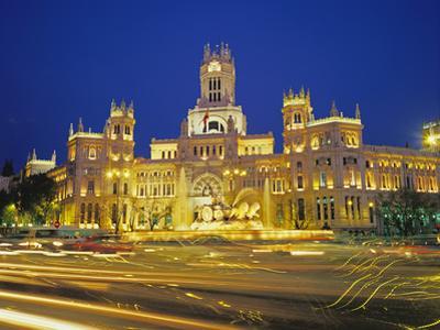 Plaza De Cibeles Illuminated at Night, Madrid, Spain, Europe