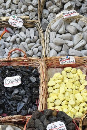 Volcanic rock souvenirs, Lipari Island, Aeolian Islands, UNESCO World Heritage Site, Sicily, Italy,