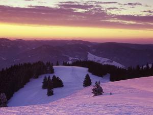 Sunrise on Belchen Mountain in Winter, Black Forest, Baden Wurttemberg, Germany, Europe by Marcus Lange
