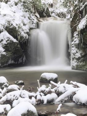 Waterfall Geroldsau in Winter, Near Baden Baden, Black Forest, Baden Wurttemberg, Germany, Europe by Marcus Lange
