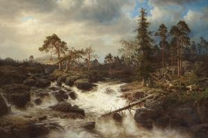 Romantic Landscape with Waterfall by Marcus Larson