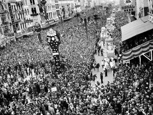 Mardi Gras Revelers Gather at Canal Street