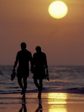 Couple Walking on Beach at Sunset, Sarasota, Florida, USA by Maresa Pryor