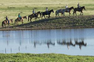 Philmont Cavalcade Ride Along Pond with Reflection, Cimarron, New Mexico by Maresa Pryor