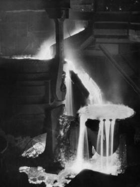 "Molten Steel Cascading in Otis Steel Mill in Historic ""Pouring the Heat"" Photo by Margaret Bourke-White"