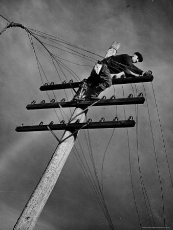 NY Telephone Co. Lineman Wallace Burdick Repairs Telephone Lines Between Valhalla and Brewster by Margaret Bourke-White