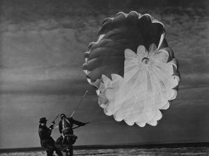 Parachute Jumper Testing Equipment for the Irving Air Chute Co. Gets Some Help by Margaret Bourke-White