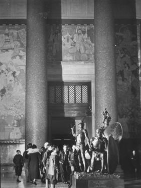 Roosevelt Memorial Hall, American Museum of Natural History, Dramatic Bronze Nandi Spearmen by Margaret Bourke-White