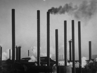 Smokestacks of Us Steel Plant by Margaret Bourke-White